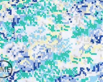 Half Yard Hipster Cross Stitch in Blue, Shannon Lamden, Riley Blake Designs, 100% Cotton Fabric, C516-03