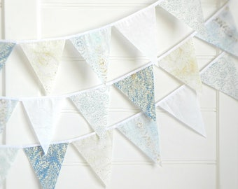 Fabric Bunting Banner, Flag Garland for Boys Room, Blue Baby Shower Decorations, Batik Wall Hanging, Natural Nursery Decor, Birthday Party