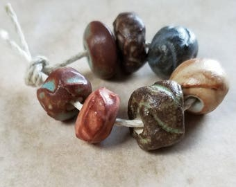 Rustic textured ceramic beads - textured beads - rustic beads - ceramic beads [809]