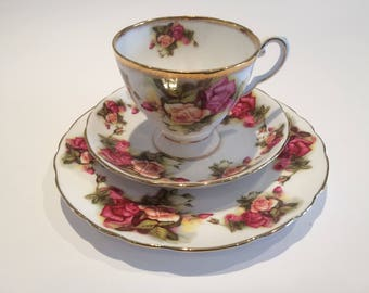 Royal Tuscan Gilded Tea cup saucer side tea bread butter plate large Pink Roses afternoon high tea party English vintage tea set tableware