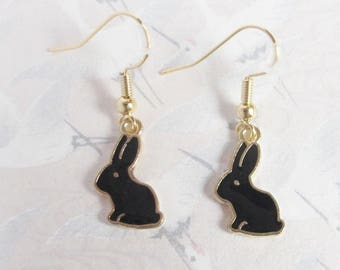 Black rabbit earrings, gold plated, rabbit earrings, rabbit jewel, black rabbit, gift for her, bunny earrings