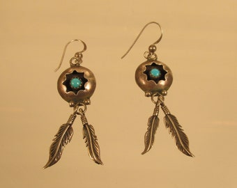 Turquoise Earrings Feathers Sterling Silver   @ A Village Coin Bullion 4/1/10 B
