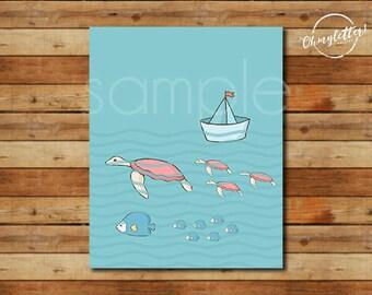 Print#515, TURTLES and FISHES, print, digital art, wallart, decorative print, instant download