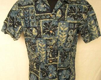 PRIDE Of Hawaii Mens Hawaiian Floral Casual Shirt Short Sleeve Sz S Cotton Used
