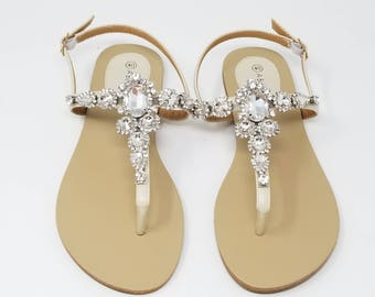 Ivory Wedding Sandals Ivory Bridal Sandals with Chunky Crystals Destination Wedding Sandals Beach Wedding Sandals Beach Wedding Shoes