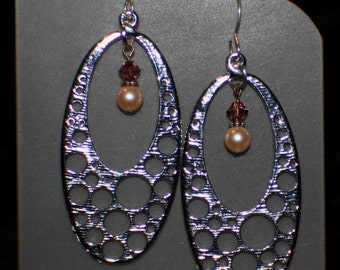 Long Silver Open Air Earrings, Swarovski Pearl and Crystal