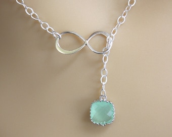 Sterling Silver Infinity Lariat Necklace, Infinity Pendant, Glass, Mint Necklace, Eternity Necklace, Best Friend, Mom Gift, Bridesmaid Gift