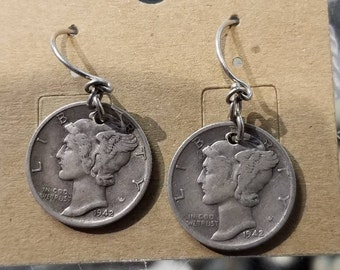 Handmade mercury dime earrings made in house by professional in house jewelry maker--  wire wrap -custom can be made