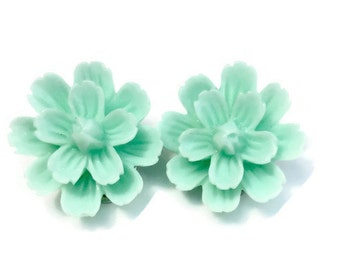Mint Spring Dahlia Flower Clip On Earrings