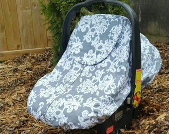 Spring/Summer Baby Carseat Cover - Infant Carseat Cover - Solstice Line in Grey Damask Print