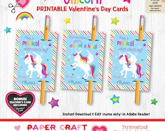 Unicorn Valentine Pencil Holder | Non Candy | Printable Classroom Valentines | Classroom Exchange Cards | By Paper Craft Valentines