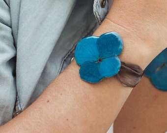 Hydrangea 1 flower Bracelet - Pressed flower - Real botanical jewelry - Dried flower - Jewelry with flowers
