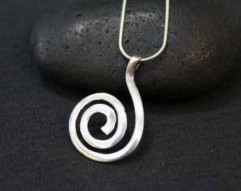 Sterling Silver Spiral Pendant on Snake Chain, Sterling Silver Swirl Necklace, Abstract Sterling Necklace, Sterling Spiral Pendant