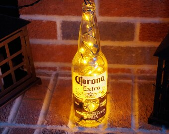 Light Up Beer Bottle Lamp  Corona   Lighted Decorated Bottle / Lamp / Bar /