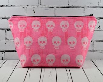 Pink Skull Make Up Bag, Gothic Makeup Bag, Cosmetic Bag, Skull Bag, Toiletry Bag, Zip Pouch, Goth Bag.