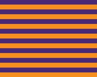 "Halloween orange purple stripes 1/2"" 1 yard"