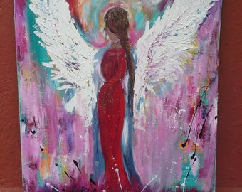Abstract painting pink Original Unique guardian angel