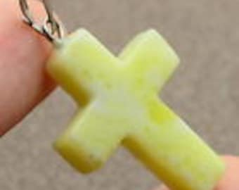 Yellow Korean Jade Cross in 8 Kt Gold with Chain
