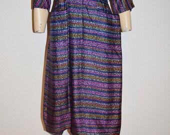 Vintage 40's 50's Rockabilly Silky Purple, Blue, Pink Stripe Dress Size 6 to 8