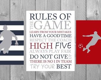 Rules of the game, basketball boy art, soccer boy art, gift for boy, sports theme room decor, boys room decor,kids inspirational art prints