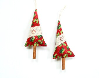 Cinnamon trees, Balsam fir pine sachet and scented cinnamon chips, tree trimming, red green, rustic home