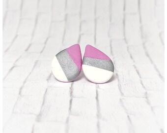 Teardrop earrings lightweight earrings polymer clay earrings pink earrings bridesmaid gift for her moon earrings polymer clay jewelry