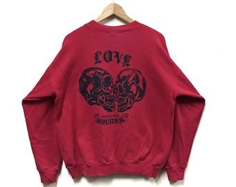 Rare!!! Vintage Bouger Skull Sweatshirt 90s Crewneck Pullover Red Colour