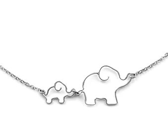 Elephant Necklace, New Mother Gift New Mom Jewelry, Elephant Baby Shower, Mother Necklace Elephant Jewelry, Mom and Baby Elephant Necklace