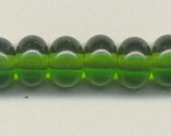 9-10mm, Tom's lampwork transparent dark grass green spacer beads,  12 beads set 95661