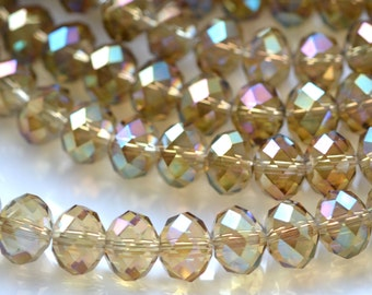Golden AB 10mm Faceted Crystal Rondelle Beads   10