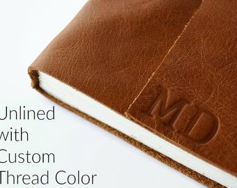 6x8 Personalized Leather Sketchbook / Blank Pages / Custom Journal / Gift for Artists / Monogram Journal with Initials, Cognac