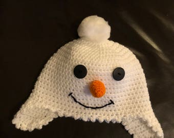 Child's snowman hat with ear flaps