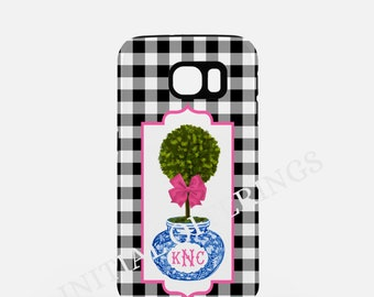 Black Gingham Monogram Chinoiserie Topiary Samsung Galaxy Case - S4, S5 & S6