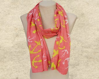 Spring summer scarf, Nautical shawl scarf, Anchor print scaves, Beach scarves, Sailor scarf, Fabric cotton scarf, Lightweight scarf,