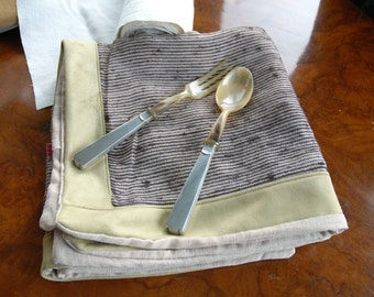 Splendid pair of service cutlery in bone and silver ' 30s, Italian