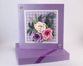 Quilled birthday card - Handmade Paper Roses Lilac Lavender Pink -  Gentle and Beautiful Quilling Card with paper roses for mom sister