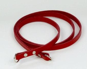 Leather pocket strap, red, shoulder bag strap, bag supply, strap