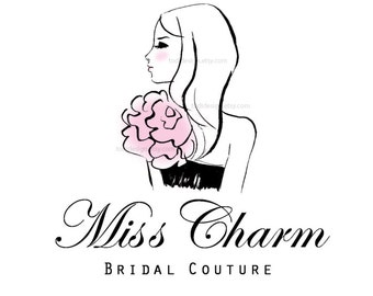Miss Charm Couture Character Illustrated Premade Logo design- Fashion Boutique- Event Dressing