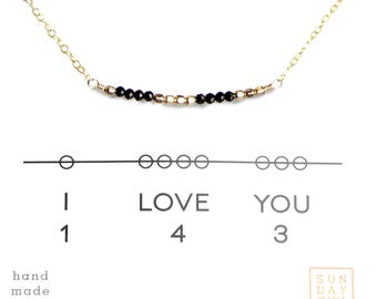 Secret Code Short Necklace I Love You Necklace Gemstone Necklace- Black Spinel,  Gifts for her,  bridal jewelry