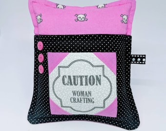 Deluxe Pincushion - Crafty Woman - Handmade - Pincushion with Pocket - Gift for Quilters - Gift for Sewers - Gift for Mom