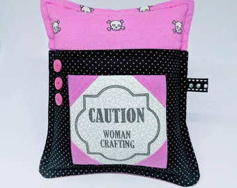 Crafty Woman -Deluxe Pincushion - Handmade - Pincushion with Pocket - Gift for Quilters - Gift for Sewers - Gift for Mom