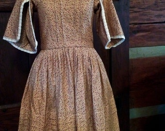 Girl's Civil War Dress - Size 8-10 - Tan with Red Flowers / Green Vines, Sewn on 1800's Machine