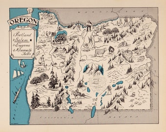 30's Vintage OREGON Picture Map Pictorial Map of Oregon State Cartoon Map Print Gallery Wall Art Map Collector Gift for Traveler Vacation