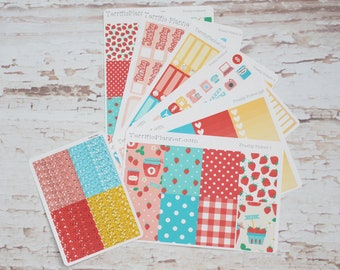 Freshly Picked Strawberry Weekly Planner Sticker Kit and Washi