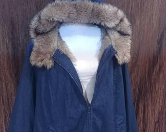 Vintage Roamans faux fur lineddenim jacket, size 3X, free shipping