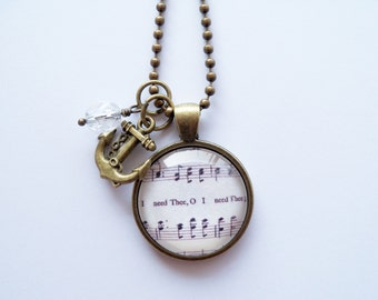 Music Pendant Necklace - I Need Thee Every Hour - Inspirational Jewelry - Music Jewelry - Hymn - You Choose Bead and Charm - Customized