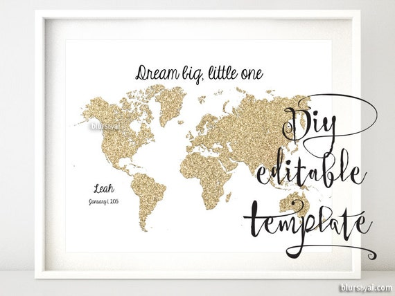 Items similar to editable word template printable world map gold items similar to editable word template printable world map gold glitter map gold map map quote print gold nursery map diy decor template gp015 101 publicscrutiny Images