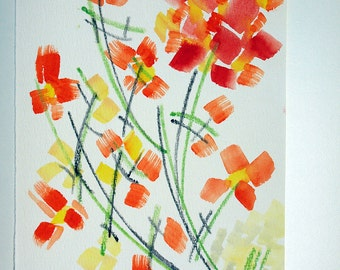 "FREE SHIPPING Watercolor flowers . Original painting 9.7"" x 6.3"" (24x16 cm)"