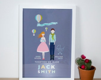 Personalised new baby announcement A3 print