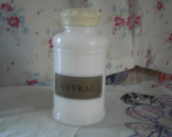 Milk Glass Vitamin Bottle